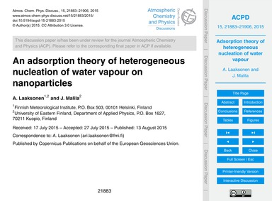 An Adsorption Theory of Heterogeneous Nu... by Laaksonen, A.