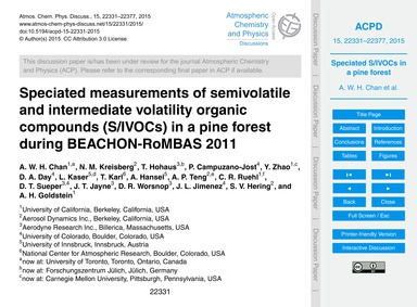 Speciated Measurements of Semivolatile a... by Chan, A. W. H.