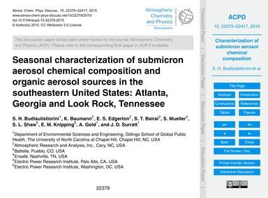 Seasonal Characterization of Submicron A... by Budisulistiorini, S. H.