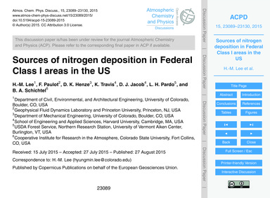 Sources of Nitrogen Deposition in Federa... by Lee, H.-m.