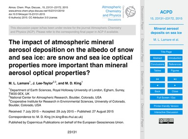 The Impact of Atmospheric Mineral Aeroso... by Lamare, M. L.