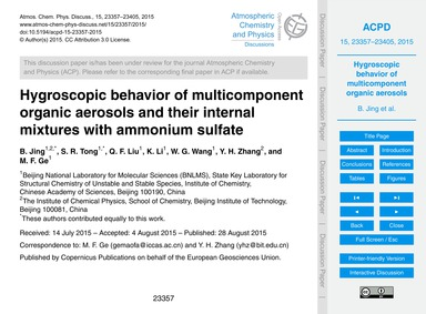 Hygroscopic Behavior of Multicomponent O... by Jing, B.