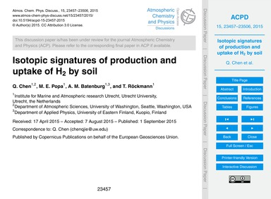 Isotopic Signatures of Production and Up... by Chen, Q.