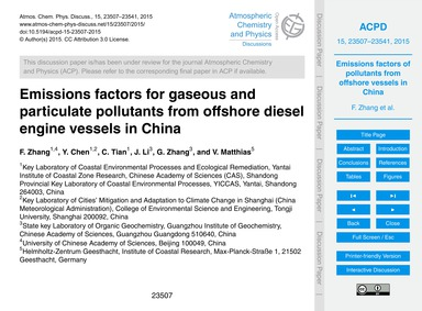 Emissions Factors for Gaseous and Partic... by Zhang, F.