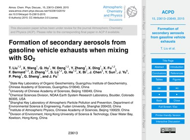 Formation of Secondary Aerosols from Gas... by Liu, T.
