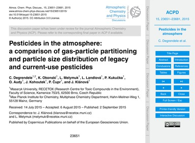 Pesticides in the Atmosphere: a Comparis... by Degrendele, C.