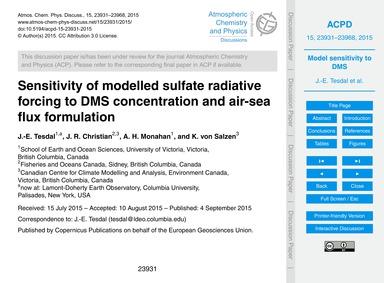 Sensitivity of Modelled Sulfate Radiativ... by Tesdal, J.-e.