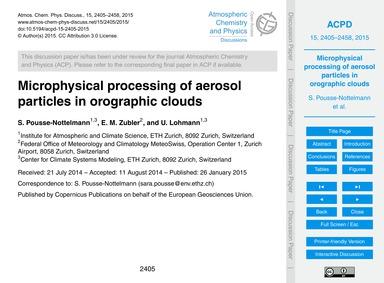 Microphysical Processing of Aerosol Part... by Pousse-nottelmann, S.