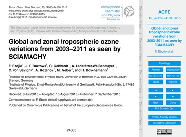Global and Zonal Tropospheric Ozone Vari... by Ebojie, F.