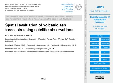 Spatial Evaluation of Volcanic Ash Forec... by Harvey, N. J.