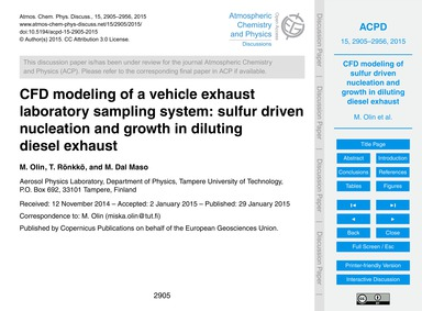 Cfd Modeling of a Vehicle Exhaust Labora... by Olin, M.