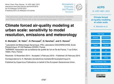 Climate Forced Air-quality Modeling at U... by Markakis, K.