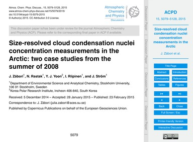 Size-resolved Cloud Condensation Nuclei ... by Zábori, J.