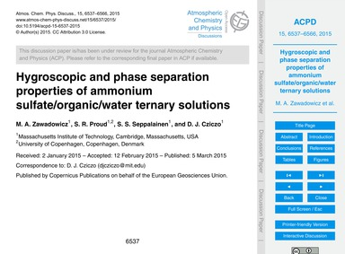Hygroscopic and Phase Separation Propert... by Zawadowicz, M. A.