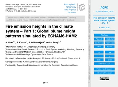 Fire Emission Heights in the Climate Sys... by Veira, A.