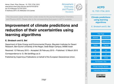 Improvement of Climate Predictions and R... by Strobach, E.
