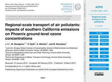 Regional-scale Transport of Air Pollutan... by Li, J.