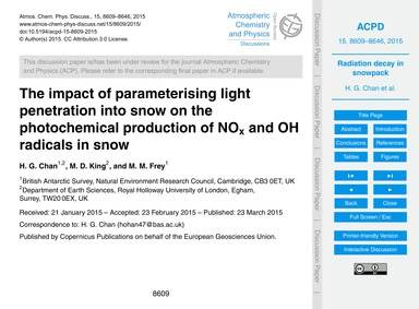 The Impact of Parameterising Light Penet... by Chan, H. G.