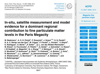 In-situ, Satellite Measurement and Model... by Beekmann, M.