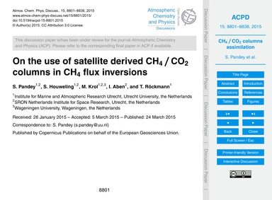 On the Use of Satellite Derived Ch4 / Co... by Pandey, S.