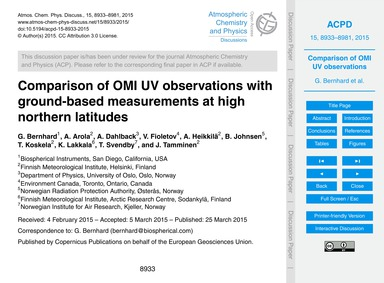 Comparison of Omi Uv Observations with G... by Bernhard, G.