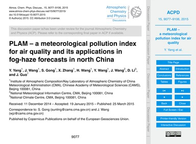 Plam – a Meteorological Pollution Index ... by Yang, Y.