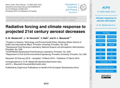 Radiative Forcing and Climate Response t... by Westervelt, D. M.