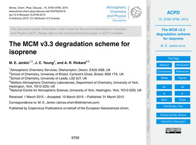 The McM V3.3 Degradation Scheme for Isop... by Jenkin, M. E.