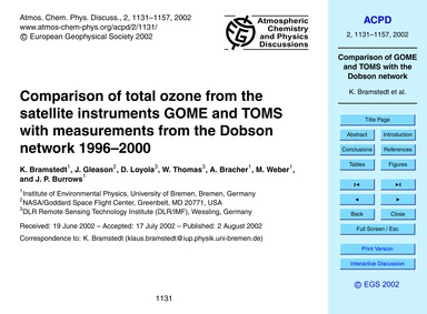 Comparison of Total Ozone from the Satel... by Bramstedt, K.