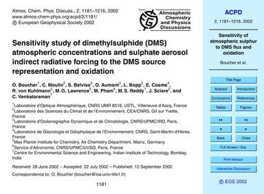 Sensitivity Study of Dimethylsulphide (D... by Boucher, O.