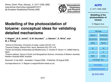 Modelling of the Photooxidation of Tolue... by Wagner, V.