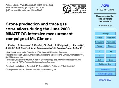 Ozone Production and Trace Gas Correlati... by Fischer, H.
