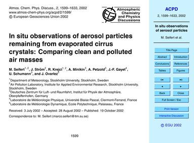 In Situ Observations of Aerosol Particle... by Seifert, M.