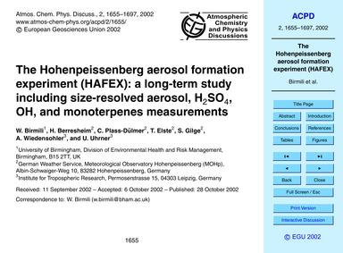 The Hohenpeissenberg Aerosol Formation E... by Birmili, W.