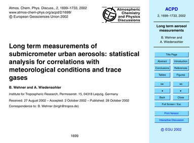 Long Term Measurements of Submicrometer ... by Wehner, B.