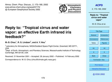 "Reply to: ""tropical Cirrus and Water Vap... by Chou, M.-d."