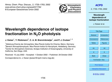 Wavelength Dependence of Isotope Fractio... by Kaiser, J.