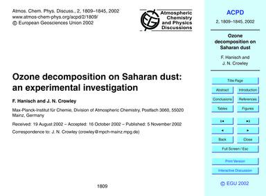 Ozone Decomposition on Saharan Dust: an ... by Hanisch, F.