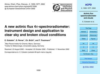A New Actinic Flux 4Π-spectroradiometer:... by Eckstein, E.