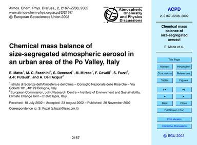 Chemical Mass Balance of Size-segregated... by Matta, E.