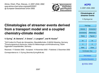 Climatologies of Streamer Events Derived... by Eyring, V.
