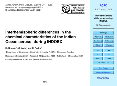 Interhemispheric Differences in the Chem... by Norman, M.