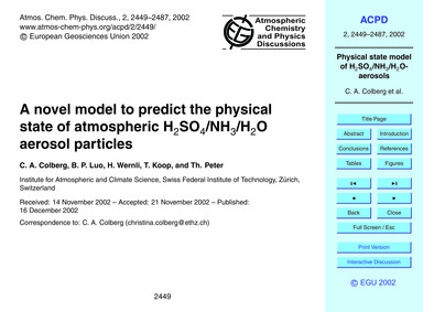 A Novel Model to Predict the Physical St... by Colberg, C. A.
