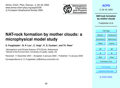 Nat-rock Formation by Mother Clouds: a M... by Fueglistaler, S.