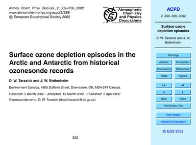 Surface Ozone Depletion Episodes in the ... by Tarasick, D. W.