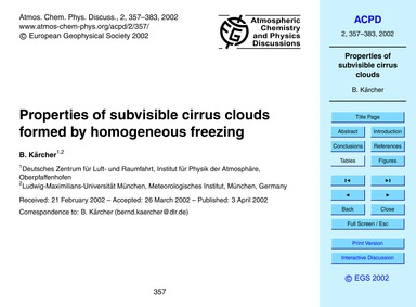 Properties of Subvisible Cirrus Clouds F... by Kärcher, B.