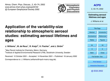 Application of the Variability-size Rela... by Williams, J.