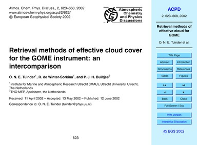 Retrieval Methods of Effective Cloud Cov... by Tuinder, O. N. E.