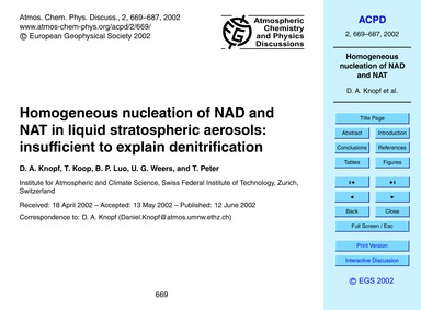 Homogeneous Nucleation of Nad and Nat in... by Knopf, D. A.