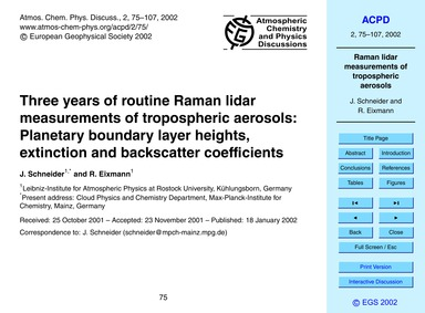 Three Years of Routine Raman Lidar Measu... by Schneider, J.